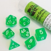 Kostka Blackfire Dice - Sada 7 kostek 16mm pro RPG (Crystal Green)