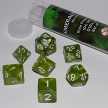 Kostka Blackfire Dice - Sada 7 kostek 16mm pro RPG (Emerald Green)